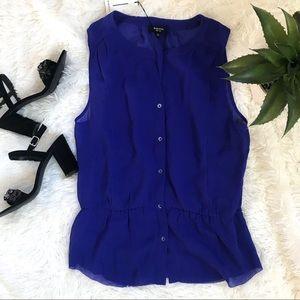 Aritzia 100% Silk Royal Blue Blouse